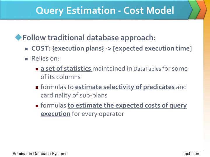 Query Estimation - Cost Model