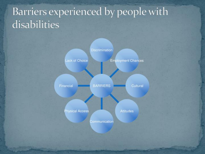 Barriers experienced by people with disabilities