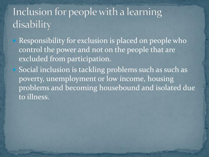 Inclusion for people with a learning disability