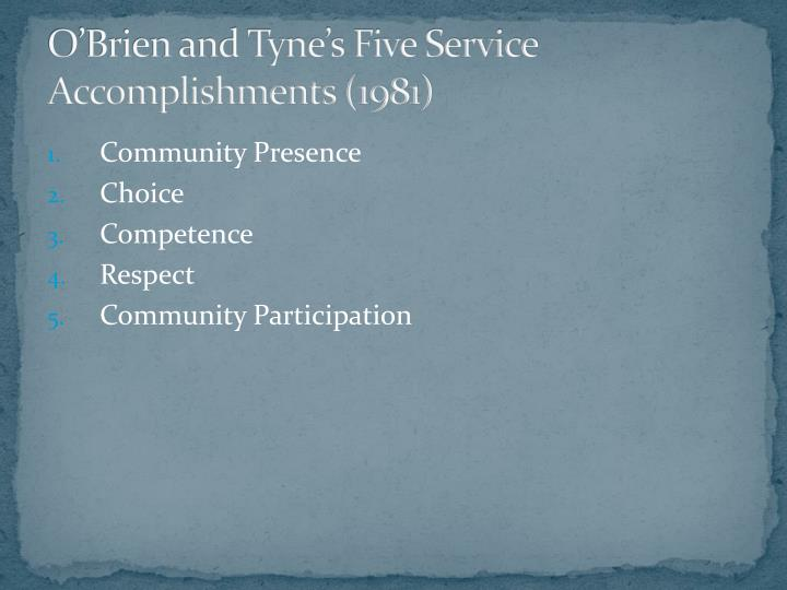 O'Brien and Tyne's Five Service Accomplishments (1981)