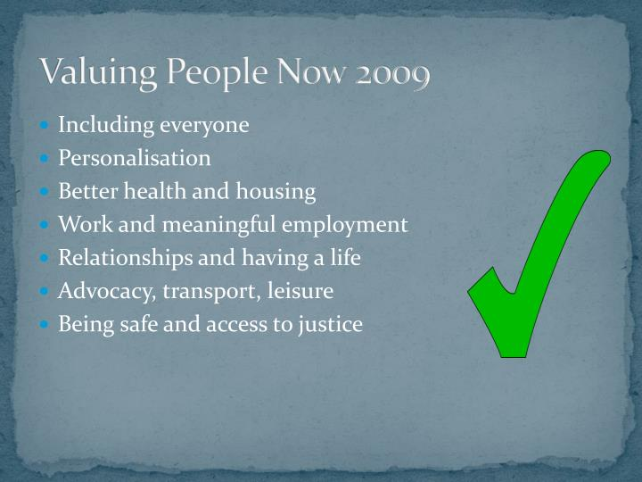 Valuing People Now 2009