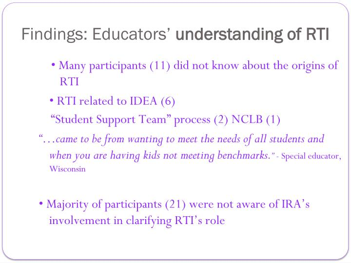 Findings: Educators
