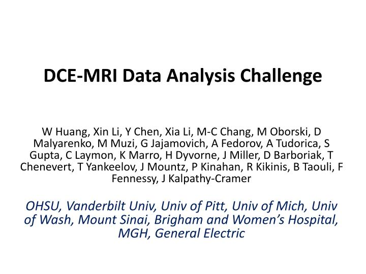 Dce mri data analysis challenge