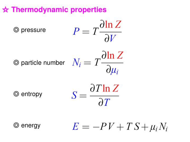 ☆ Thermodynamic properties
