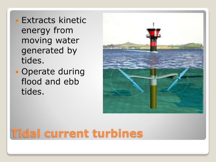 Extracts kinetic energy from moving water generated by tides.