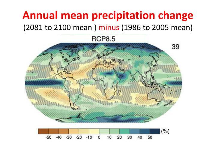 Annual mean precipitation change
