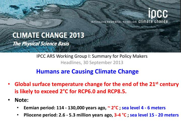 IPCC AR5 Working Group I: Summary for Policy Makers