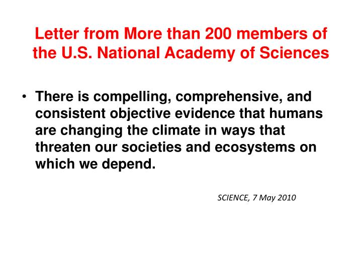 Letter from More than 200 members of the U.S. National Academy of Sciences