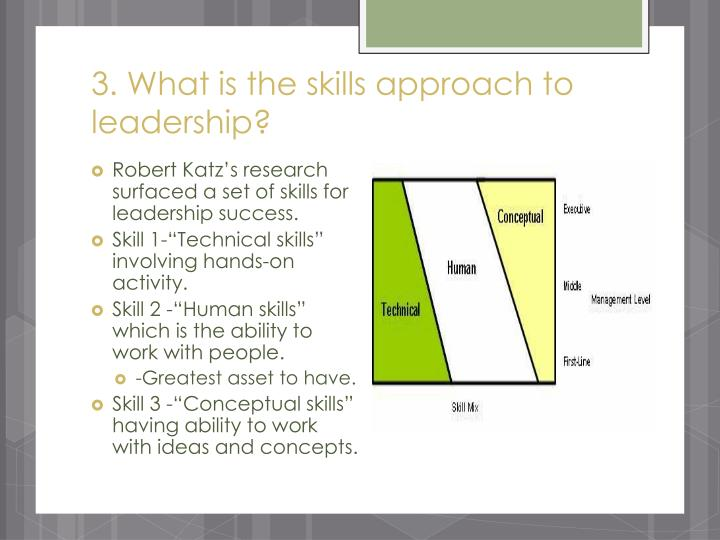 3. What is the skills approach to leadership?