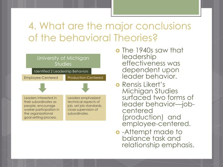 4. What are the major conclusions of the behavioral Theories?