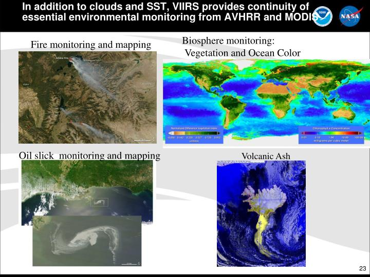 In addition to clouds and SST, VIIRS provides continuity of essential environmental monitoring from AVHRR and MODIS