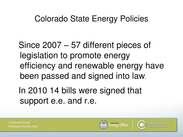 Colorado State Energy Policies