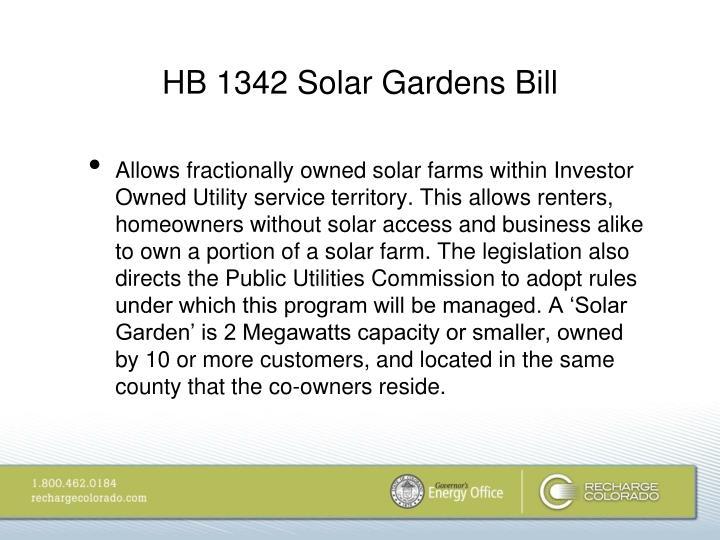 HB 1342 Solar Gardens Bill