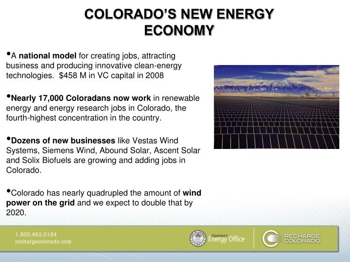 COLORADO'S NEW ENERGY ECONOMY