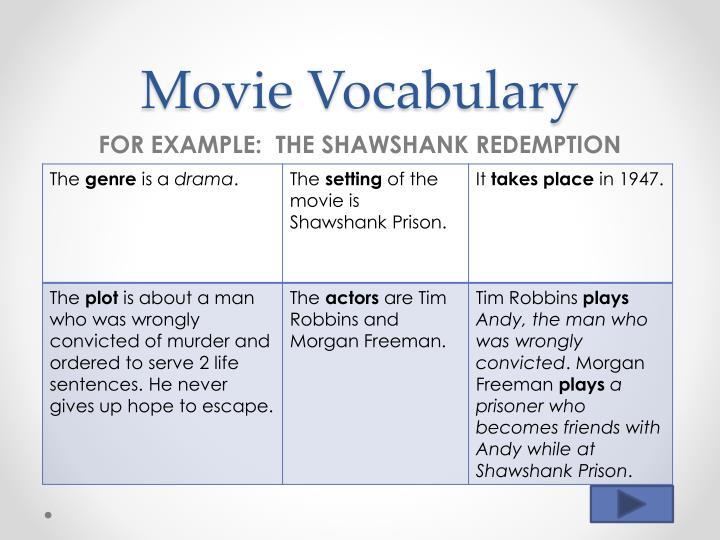 Movie Vocabulary