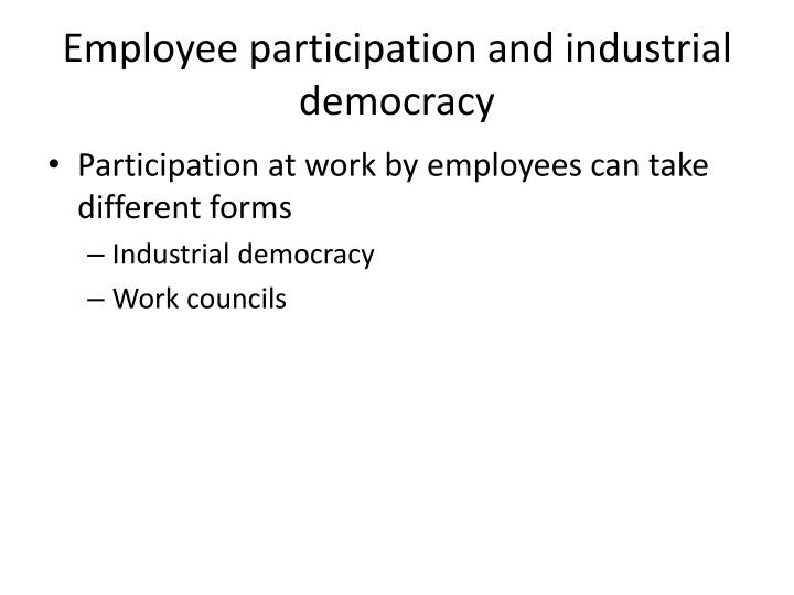 Employee participation and industrial democracy