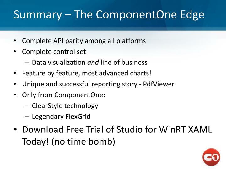 Summary – The ComponentOne Edge