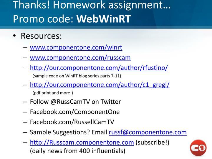 Thanks! Homework assignment