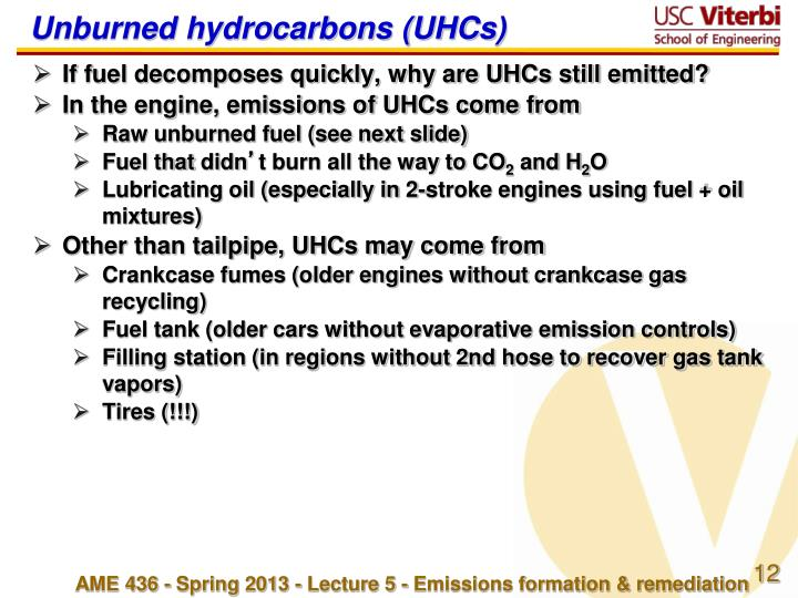 Unburned hydrocarbons (UHCs)