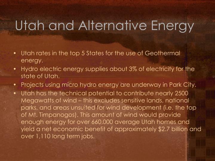 Utah and Alternative Energy