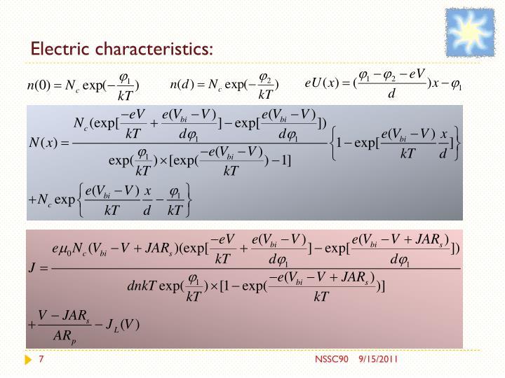 Electric characteristics: