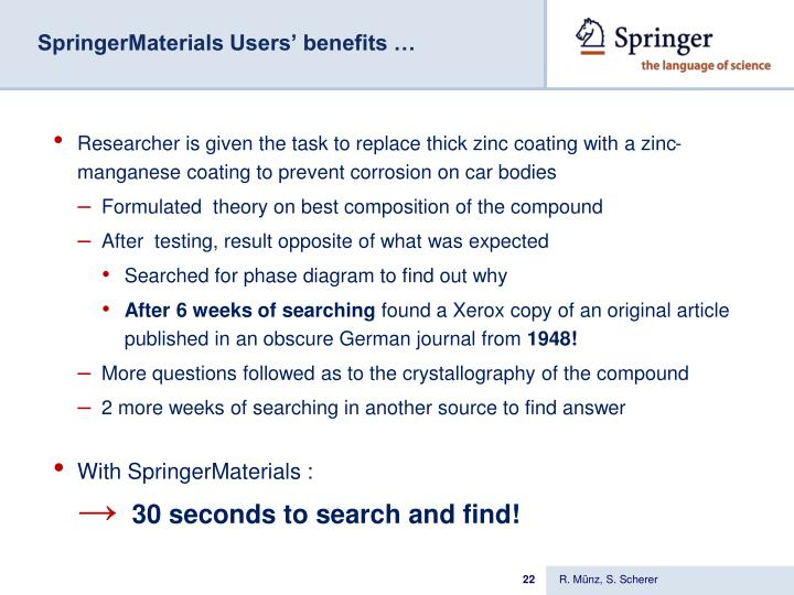 SpringerMaterials Users' benefits …