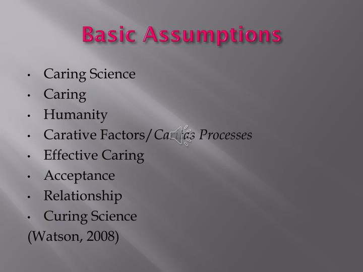 Basic Assumptions N on Caring Concepts In Nursing Watson