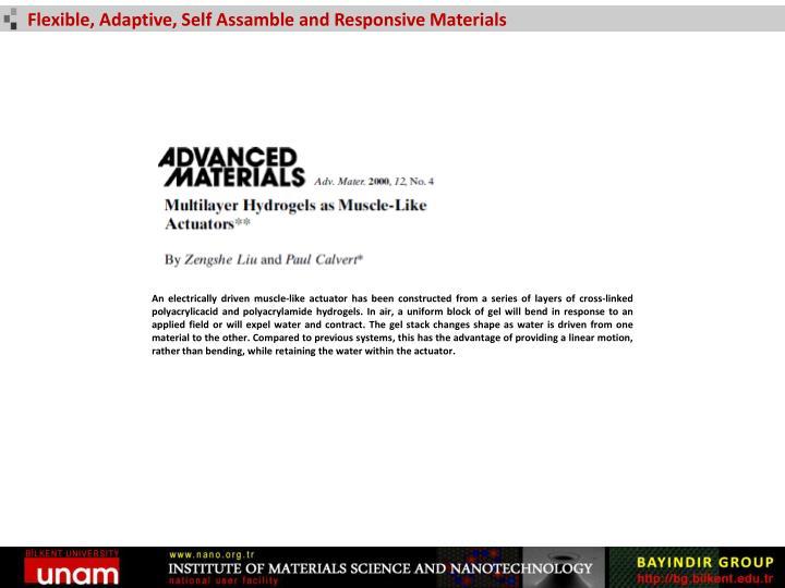 Flexible, Adaptive, Self Assamble and Responsive Materials