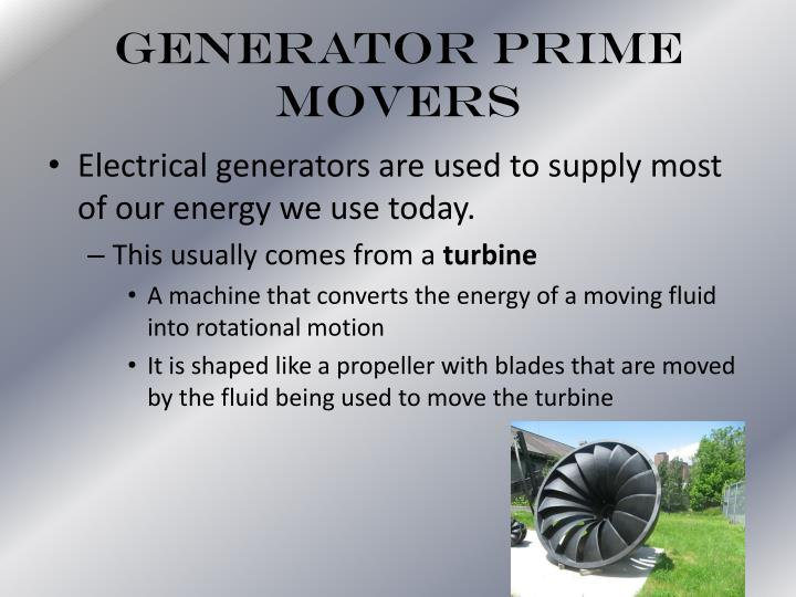Generator Prime Movers