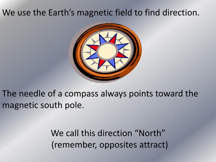 We use the Earth's magnetic field to find direction.