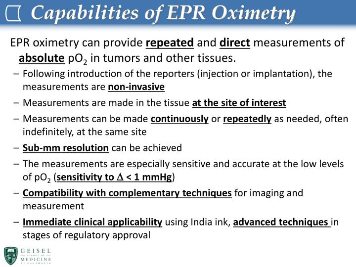 Capabilities of EPR Oximetry