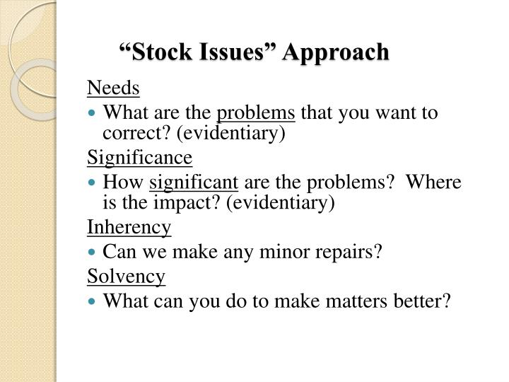 """Stock Issues"" Approach"
