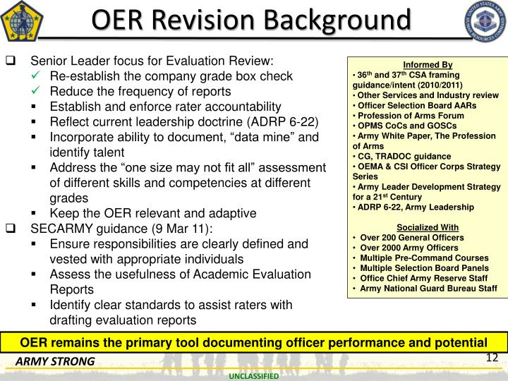 oer-revision-background-n Oer Support Form Examples on filled out, army evaluation, for lno, army bn xo, for intelligence, major performance objectives, us army, military chaplain, presence bullet,