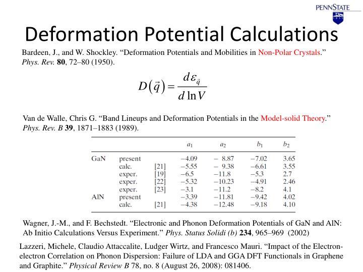 Deformation Potential Calculations