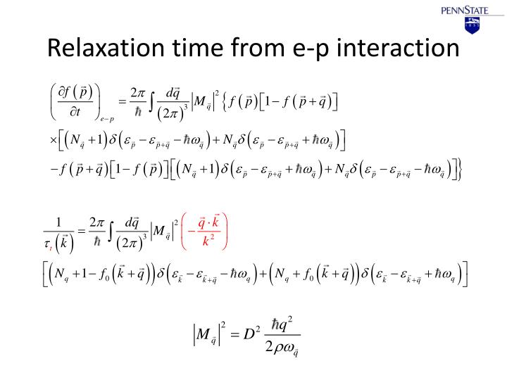 Relaxation time from e-p interaction