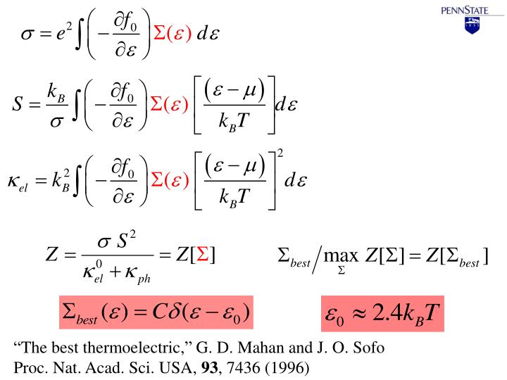"""The best thermoelectric,"" G. D. Mahan and J. O. Sofo"