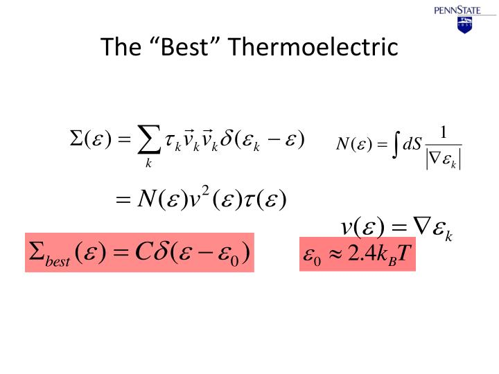 "The ""Best"" Thermoelectric"