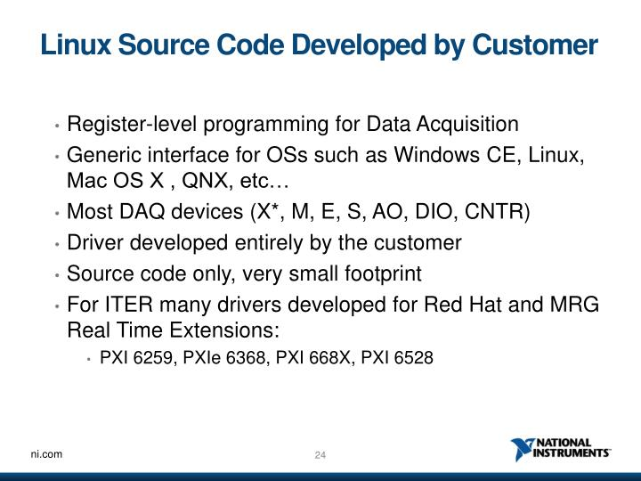 Linux Source Code Developed by Customer