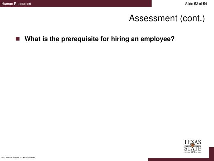 Assessment (cont.)