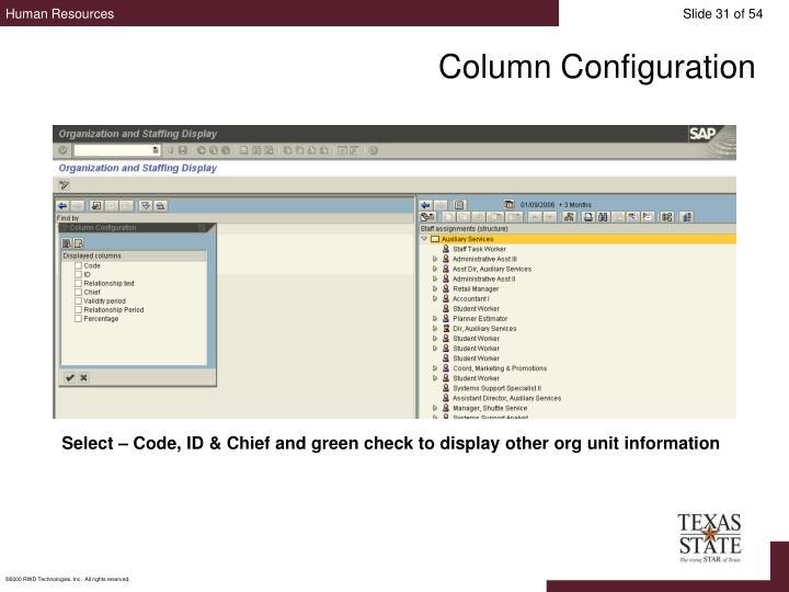 Column Configuration