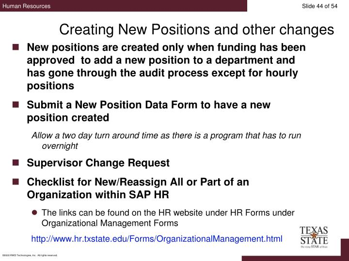 Creating New Positions and other changes