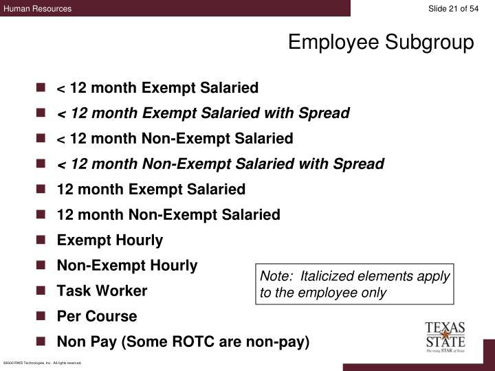 Employee Subgroup