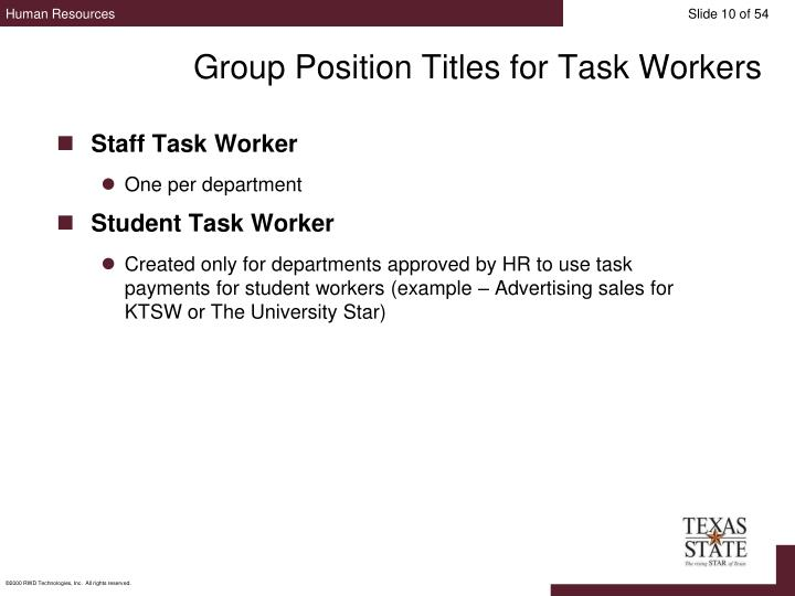 Group Position Titles for Task Workers