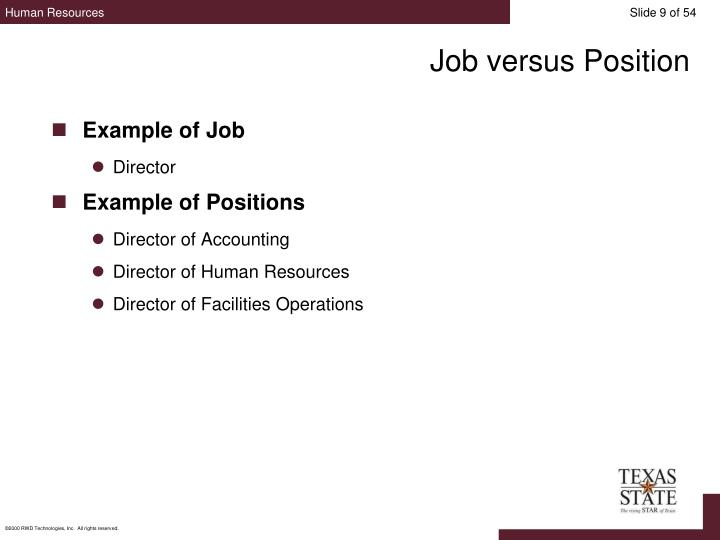 Job versus Position