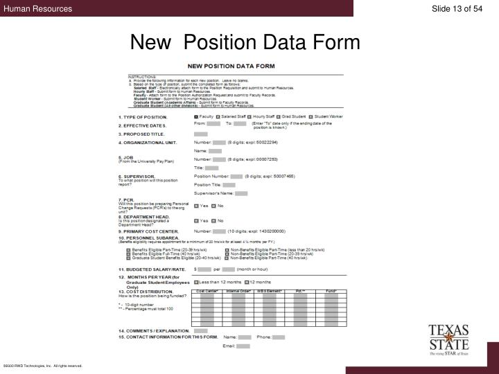New  Position Data Form