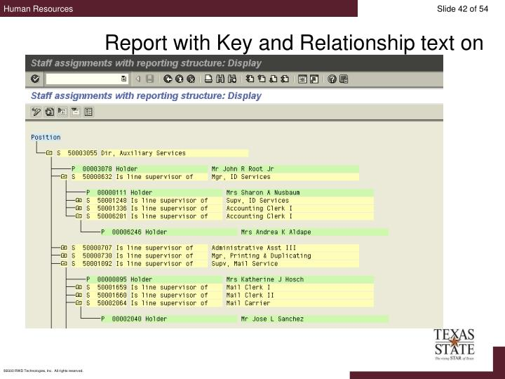 Report with Key and Relationship text on