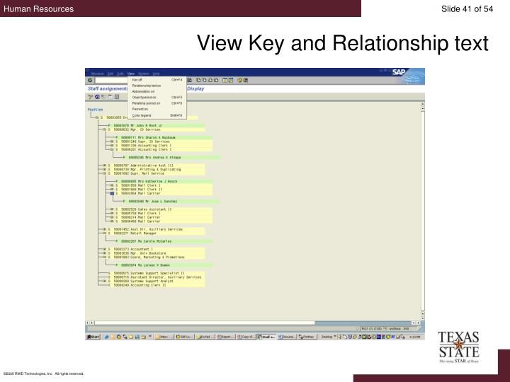 View Key and Relationship text