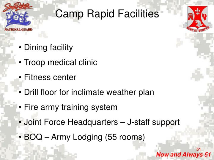 Camp Rapid Facilities