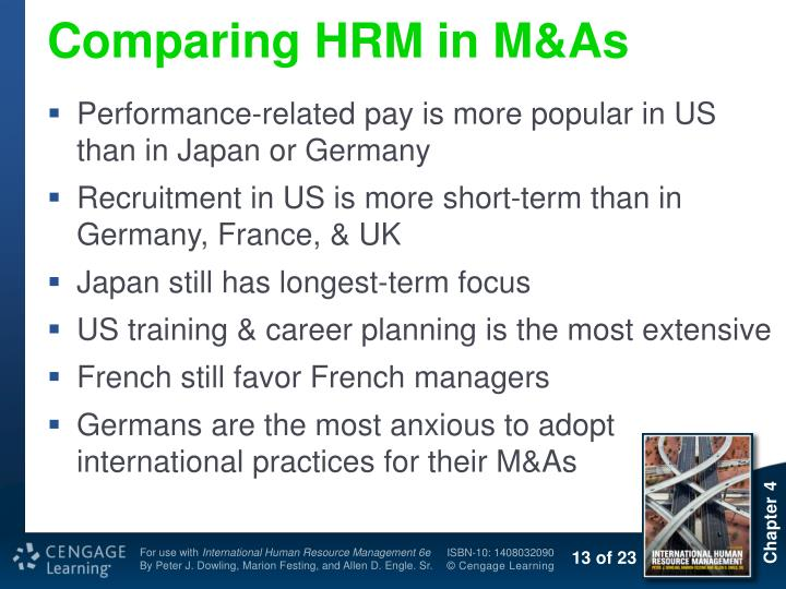 Comparing HRM in M&As