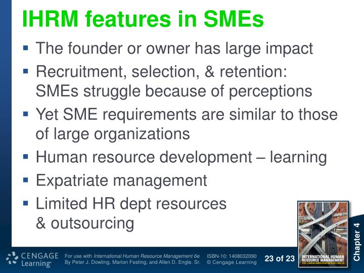 IHRM features in SMEs